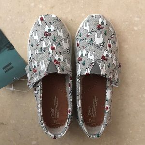 Toms Tiny Christmas llama shoes size 11 grey fleck